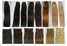 """Alexxis 18"""" Clip in Human Hair Extensions 10pcs 100g, Silky Straight + Colors"""