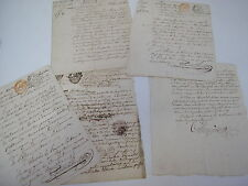 Lot de 5 actes notariés : publications de mariage & baptêmes civils Bordeaux