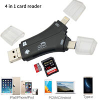4 in 1 USB Memory Card Reader i-Flash Drive Micro SD SDHC TF For iPhone Android