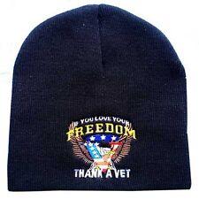 """8"""" USA Flag Freedom Thank a Vet  Embroidered Black Beanie Skullie Skull Cap Hat"""