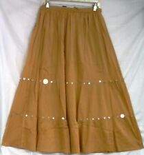 Women Clothing Elastic Waist Skirt 100% Cotton Free Size Gold