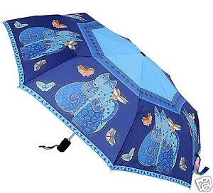 Laurel Burch Blue Indigo Cats Compact Umbrella Auto Open Auto Close New