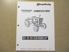 Simplicity Sovereign hydrostatic tractor parts manual model# 499 500