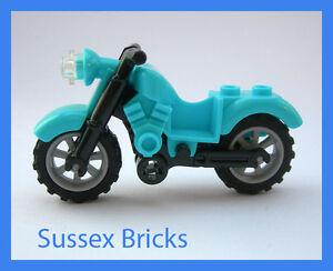 Lego - Medium Azure Blue Vintage Motorbike Motorcycle Bike City Brand New Pieces