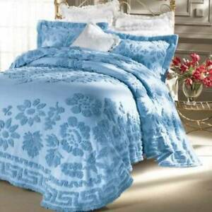 Queen Chenille Bedspread Shams Quilt Sabrina McLeland Cotton Blue 3 pc Floral