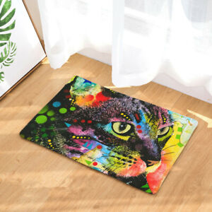 Fashion Style Color Painting Cat Print Carpets Mat Outdoor  Front Door Mats