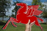 "OLD STYLE MOBIL GAS OIL 24"" PEGASUS HORSE DIECUT THICK STEEL SIGN LEFT USA MADE"