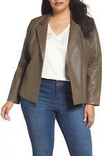 New SEJOUR/Nordstrom Lamb Leather Jacket Blazer Topper 14W Plus Olive Grey $300