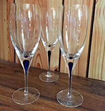 "Set of 3 Orrefors INTERMEZZO BLUE Wine Glass 8 3/4""H"