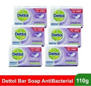 6Pc Dettol Antibacterial Original Bar Soap Sensitive Scent 110g