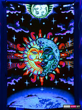 Psychedelic Om Sun Moon UV Tapestry Fluorescent Backdrop Wall Hanging Party Deco