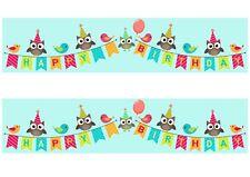 A4 Edible Decor Icing Sheet Cute Owls Happy Birthday Ribbon Border -larger cakes