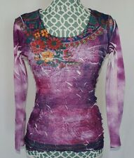 New Directions Long Sleeve Shirt Top Blouse Floral Purple Womens Size S