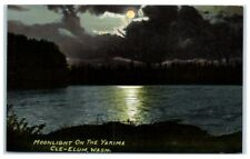 Early 1900s Moonlight on the Yakima, Cle Elum, WA Postcard