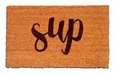 Sup, What's Up Laser Engraved Welcome Mat, 100% Natural Coir Fiber