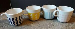 IKEA FRAMKALLA Mug Set (4) Mixed Modern Patterns Pink Blue Yellow