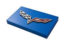 2005-2013 C6 Corvette Blue Carbon Fiber Fuse Box Cover - Crossed Flags Emblem