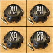 4 x KMC XD Series Spy Addict Revolver Flat Black 6 Lug Ford  Center Cap 1079L140