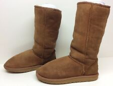 #5 WOMENS UGG AUSTRALIA WINTER LEATHER SHEEPSKIN BROWN BOOT SIZE 6