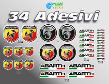 Adesivi Abarth 34 pezzi scorpione Fiat 500 auto kart rally tuning 124