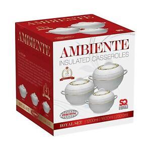 3pcs Hot Pot Set Food Warmer Insulated Casserole Pan Dish Round White Ambinate