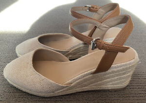 Witchery Espadrille Wedge Shoes - Size 39 - Nutural