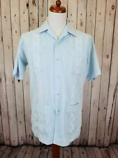 Vintage Blue 1970s Romani Polycotton Guayabera Shirt Rockabilly Disco -L- HE89