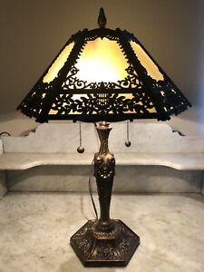 Nice! Vintage Art Nouveau Iridescent Beige Cream Six Panel Slag Glass Table Lamp