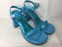Rampage Cotton Candy Blue Strappy Heels Retro 90s Sandals Womens Sz 7.5M Costume