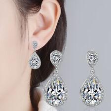 Womens 925 Sterling Silver Shine CZ Cubic Zirconia Waterdrop Stud Earrings Gift
