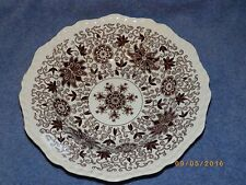 "Masons Brown Bow Bells Floral Scrolls Soup Bowl 9"" discolored rim"