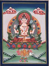 Chenrezig Shadakshari Lokeshvara Buddha Painting Tibetan Thangka Handmade Art