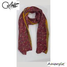 Grand Foulard satin polyester soie artificielle Bhutti Fleurs COLINE Rouge curry