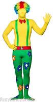 CIRCUS CLOWN  Skinz Skin Suit Bodysuit Lycra Mens Fancy Dress Halloween Costume