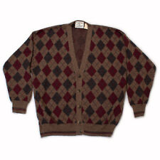 Vintage Sz. L Men's Sears Roebuck Cardigan Sweater, Italian Argyle Red Brown