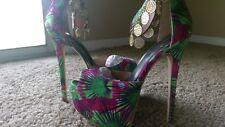 Scene By shoedazzle  Floral high heel Joy size 6 woman* green/purple floral