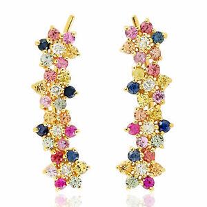 Multi Sapphire Cluster Crawler Earrings Real Diamond 14k Yellow Gold Jewelry