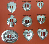 YOUR CHOICE 12, 50, 100 Western Conchos! Round Large Oval Heart Arrowhead T-Bird