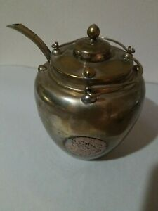Antique Chinese Qing Dynasty Copper Teapot Mixed Metal Medallions Decoration