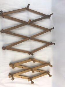 Vintage Coat Rack Expandable Wooden Wall Mount Hook Clothes Hat Peg Accordion(2)