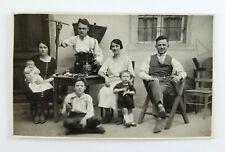 Vintage Real Photo Postcard Italian Family Drinking Wine