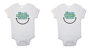 Twins Baby bodysuits Mummy and Daddy Team  Babygrow Vest Pack Of 2 Gift Set