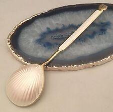WOW!! 925 Sterling Silver White Opaline Guilloche Gold Enamel Spoon DENMARK L160