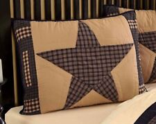 Hand Quilted Patchwork Pillow Sham Country Farmhouse Navy Blue Tan Teton Star