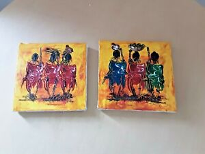 Pair of African Canvass Pictures, Ethnic Boho