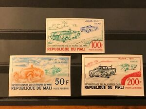 1973 Republic of Mali Imperf Stamp Set BENTLEY , ALFA ROMEO , JAGUAR , PORSCHE