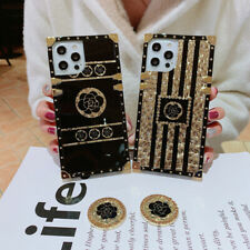 For Samsung S21 S20 S10 9 Note20 10 Glitter Bling Gold Flower Square Case w/Ring
