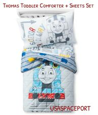 4pcs THOMAS Train Toddler Bed-in-a-Bag COMFORTER+SHEETS Set Boys/Girls Room Crib