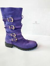 Versace Purple Suede Leather Boots Shoes With Gold Buckle Size 5 EU 38 With Box