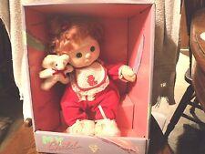 NRFB MIB MATTEL MY CHILD RED HAIR GREEN EYES CHRISTMAS RED SLEEPER & TEDDY BEAR